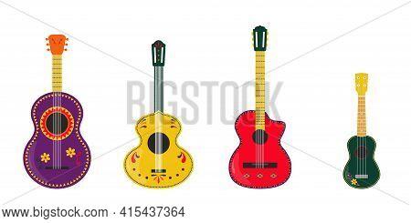 Guitar Set. Guitars Vector Illustration. Mexican Guitars And Ukulele Isolated On White Background. M