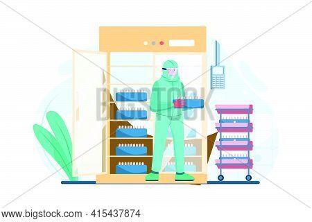 Medial Staff Distributing Covid-19 Vaccine Tray Inside The Freezer Illustration Concept. Flat Illust