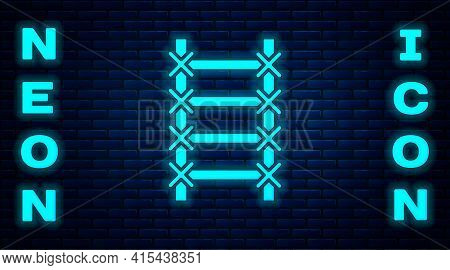 Glowing Neon Fire Escape Icon Isolated On Brick Wall Background. Pompier Ladder. Fireman Scaling Lad