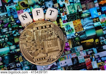 Kazan, Russia - April 03, 2021: The Word Nft (non-fungible Token) Is Laid Out Of Cubes With Letters