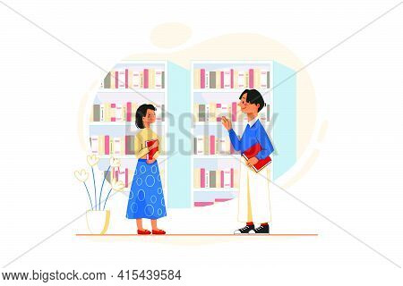 Colleague Flirting With Lady Employee In The Office. The Female Employee Is Entering The Library, In