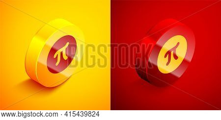 Isometric Pi Symbol Icon Isolated On Orange And Red Background. Circle Button. Vector