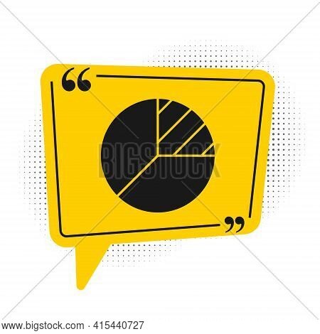 Black Pie Chart Infographic Icon Isolated On White Background. Diagram Chart Sign. Yellow Speech Bub