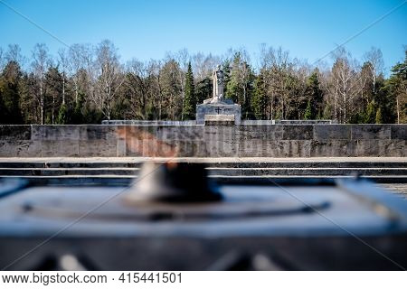 Riga, Latvia - April 1, 2021: European Heritage Day. The Riga Brethren Cemetery - Latvian Memorial E