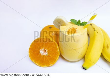 Orange Smoothies Yellow Colorful Fruit Juice Milkshake Blend Beverage Healthy High Protein The Taste