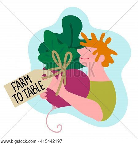 Happy Farmer Holding Giant Beetroot With Farm To Table Tag. Harvesting, Fresh Vegetables Delivery, T