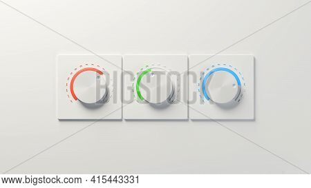 Three White Knobs With Red, Green, And Blue Highlights On White Background. Digital 3d Rendering.