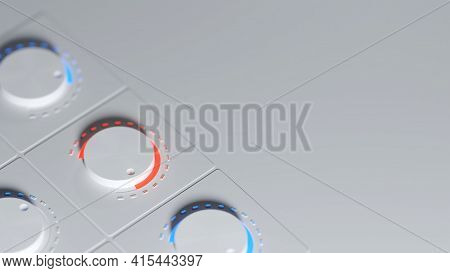 White Knobs On A Control Panel With Red And Blue Highlights. Digital 3d Rendering.