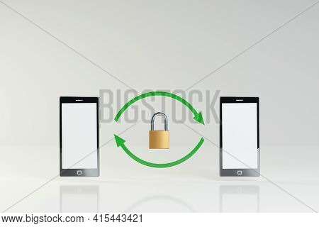 Secure Communication Between Mobile Devices, Concept. Two Smartphones With Green Arrows And A Padloc