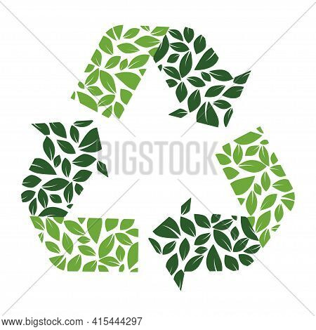 Recycling Icon, Reuse Symbol, Garbage Reduction And Recycling Increase. Redesigned With Green Colors