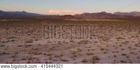 Vast Desert Valley Near Uspallata, Mendoza, Argentina.