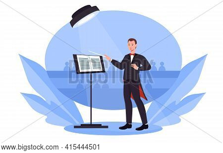 Classical Music Concert. Conductor Is Standing On The Stage Under Spotlight Wearing Tuxedo Holding S