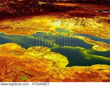 Danakil Depression  landscape of surreal colors and Mars like landscape created by sulphur springs forming bright colors in the hottest place on earth, Dallol, Ethiopia.