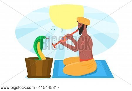 Indian Male Snake Charmer Is Playing Pipe Flute For Dancing Cobra Naja Naja. Flat Abstract Metaphor