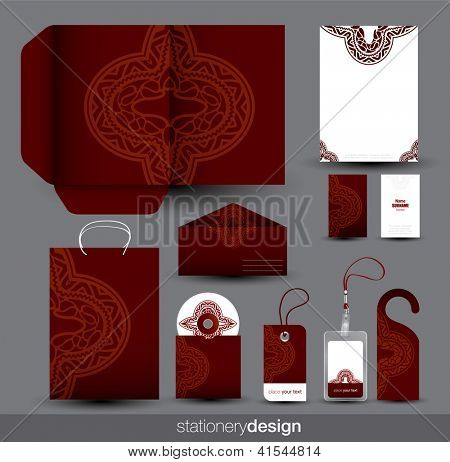 Stationery set design with ancient ornaments. Editable vector format in portfolio.