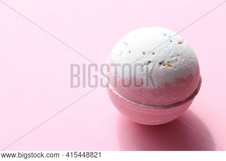 Diy Birthday Cake Bubble Bath Bomb With Sprinkles On Pink Background. Pink Salt Bomb On Colored Past