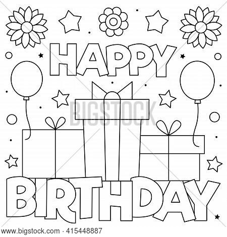 Happy Birthday. Coloring Page. Vector Illustration Of Presents.