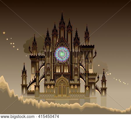 Fantastic Gothic Castle From Fairyland. Medieval Cathedral With Stained Glass Rose. Middle Ages In W