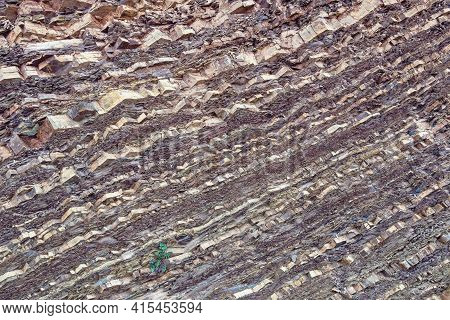 Beautiful Natural Stone Background, Diagonal Texture Of Rock In Dinaric Alps