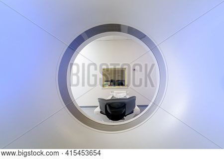Multi Detector Ct Scanner. Computed Tomography. Clipping Path. Front View. Medical Technology Concep