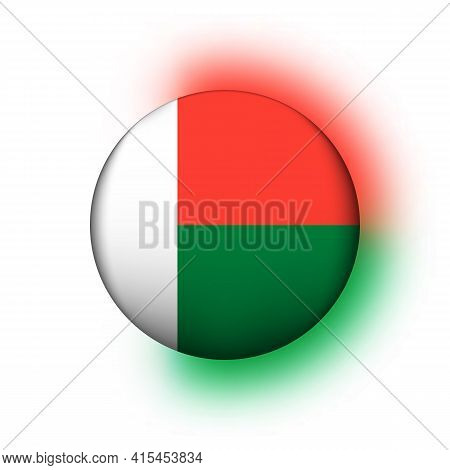 Glass Light Ball With Flag Of Madagascar. Round Sphere, Template Icon. National Symbol. Glossy Reali