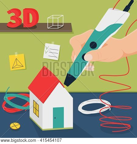 Creation Of A 3d Model Using A 3d Pen. A Man Holds A 3d Pen In His Hand And Makes A Volumetric House