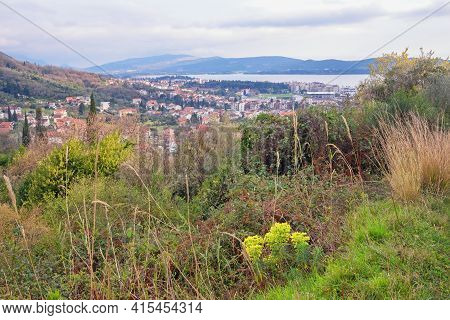 Cloudy Spring Day In Mountains. Beautiful Mediterranean Landscape. Montenegro,  View Of Tivat City