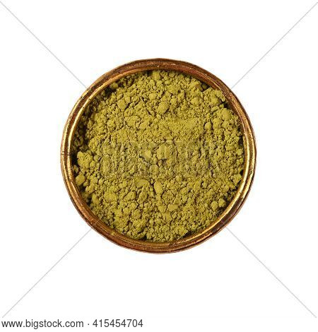 Close Up One Metal Bowl Full Of Ground Unroasted Raw Green Arabica Coffee Isolated On White Backgrou