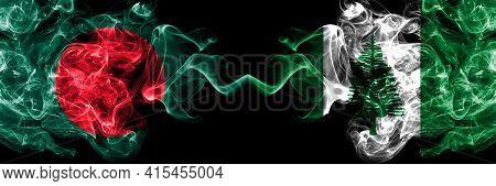 Bangladesh, Bangladeshi Vs Australia, Australian, Norfolk Island Smoky Mystic Flags Placed Side By S