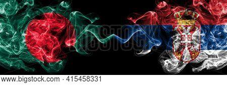 Bangladesh, Bangladeshi Vs Serbia, Serbian Smoky Mystic Flags Placed Side By Side. Thick Colored Sil