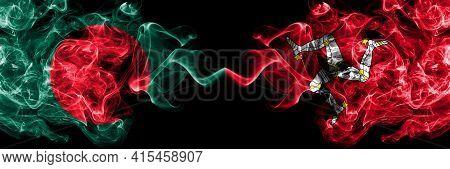 Bangladesh, Bangladeshi Vs United Kingdom, Great Britain, British, Isle Of Mann  Smoky Mystic Flags