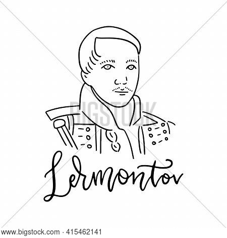 Russian Poet And Writer Lermontov Mikhail Yuryevich Line Art Portrait Isolated On White Background F