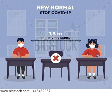 Social Distancing In Schools Illustration. New Normal At School. Coronavirus (covid-19) Guidance For