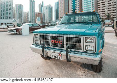 Classic Gmc Pickup Truck Automobile Displayed In Abu Dhabi, Uae |  American Sports Car | Vintage Sty