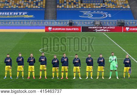 Kyiv, Ukraine - March 28, 2021: Ukrainian Players Listen To The National Anthem Before The Fifa Worl