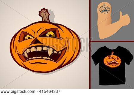 Halloween Pumpkin. Wide Open Smiling Mouth. A Symbol Of Halloween Holiday. Vector Illustration In Th