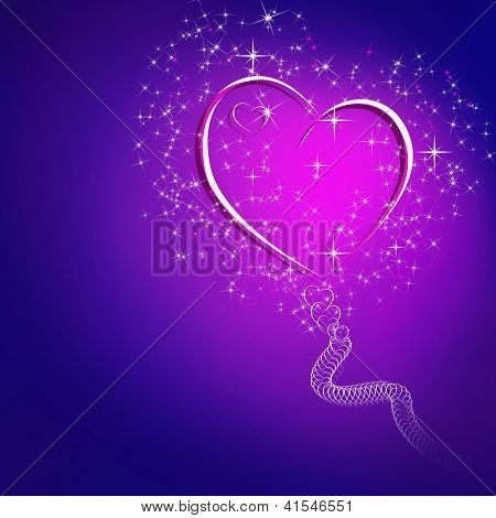 Abstract Blue Background With Glowing Hearts And Stars And Space For Text