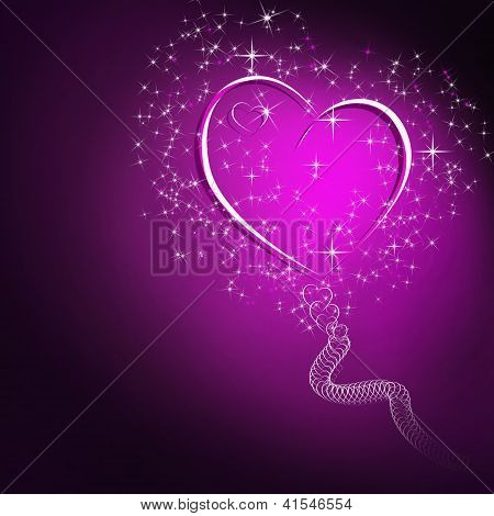 Abstract Dark Background With Glowing Pink Heart And Stars And Space For Text