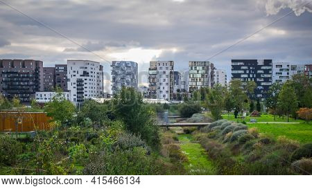 St-ouen, France, Oct 2020, View Of Gardens And The Park In Les Docks A Old Industrial Territory Rege