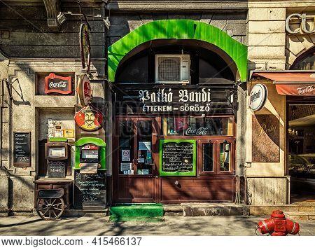 Budapest, Hungary, March 2020, View Of Patko Bandi Restaurant Entrance