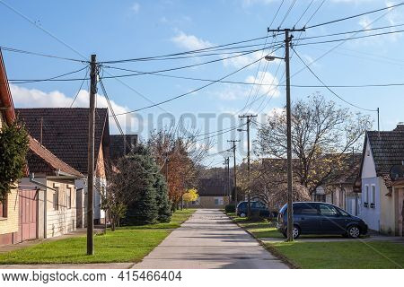 Subotica, Serbia - November 19, 2020: Typical Residential Street With Car Parks In The Afternoon In