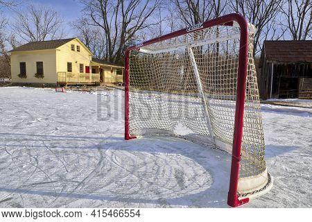 Outdoor Ice Hockey Ring In Winter In Ontario, Canada