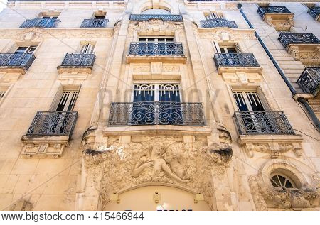 Angers, France - August 23, 2019: Beautiful View Of The Facade Of A Residential Historic Building Wi