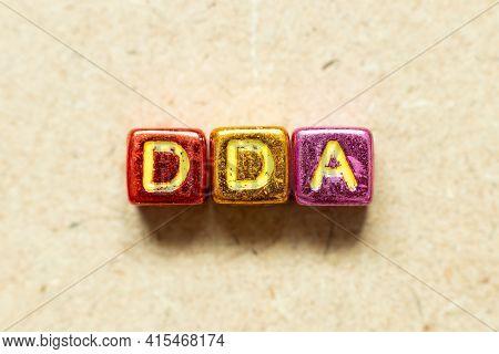 Metallic Color Alphabet Letter Block In Word Dda (abbreviation Of Depreciation, Depletion And Amorti