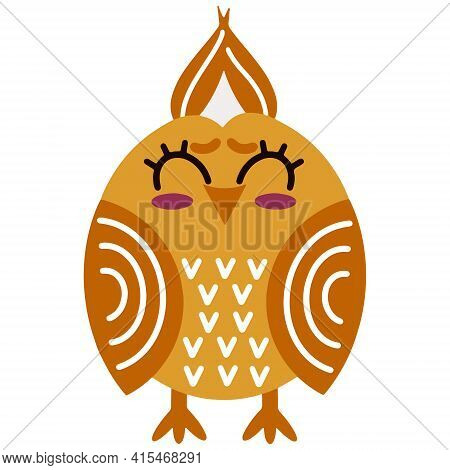 Cute Cartoon Owl Vector Illustration. Joyful Orange Bird. Happy Owl. Isolated Icon On White Backgrou