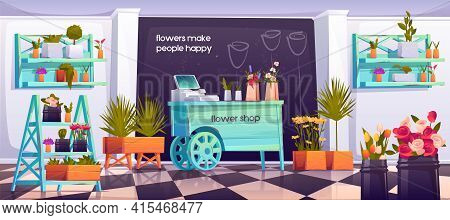 Flower Shop Interior, Empty Floristic Store With Potted Plants On Shelves, Wood Wheelbarrow Cashier
