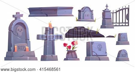 Cemetery Set, Graveyard Tombstone, Cracked Stone Cross With Rip Signature And Extinguished Candle, M