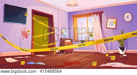 Crime Scene, Murder Place Fenced With Yellow Police Tape, Chalk Line Silhouette Of Dead Body On Floo