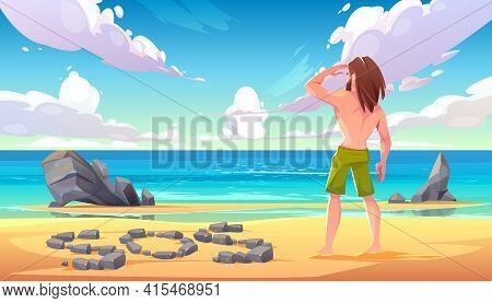 Castaway Man On Uninhabited Island, Lonely Stranded Longhaired Character Stand On Seaside Looking In