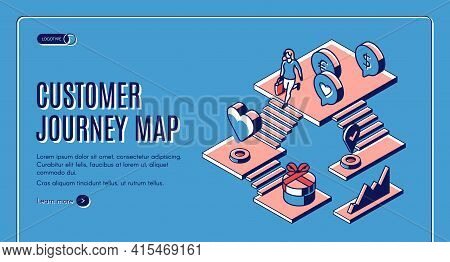 Customer Journey Map Isometric Landing Page. Process Of Purchase Decision, Buyer Shopping Experience